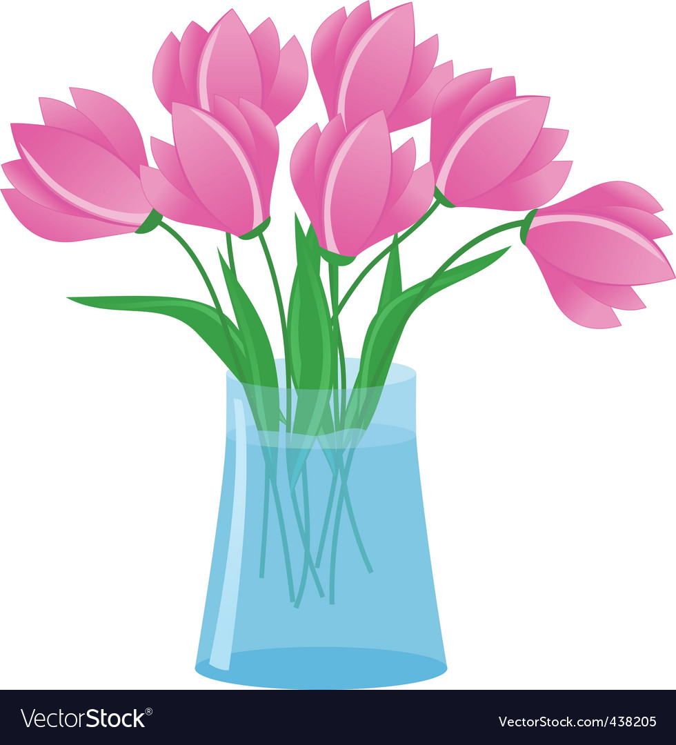 Flowers In Vase Royalty Free Vector Image Vectorstock