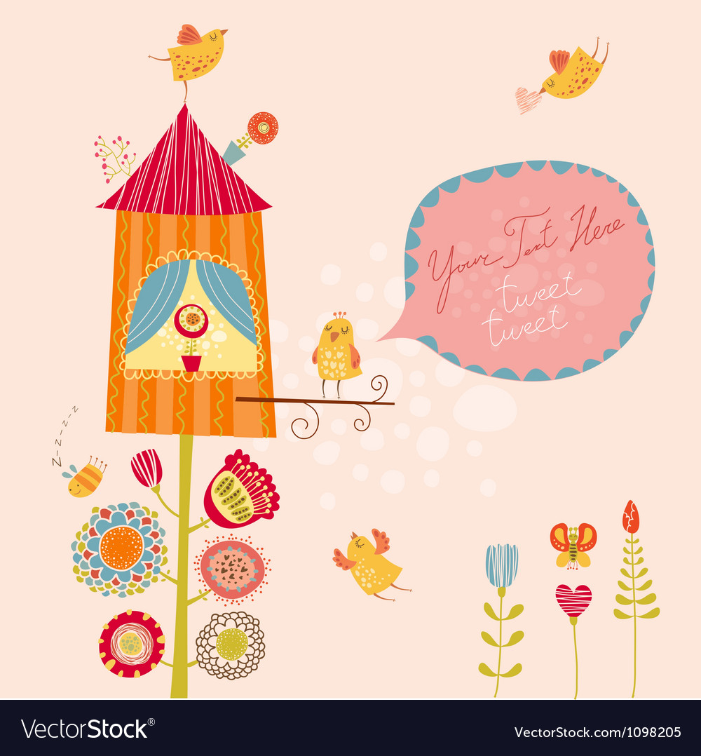 Funny bird nest vector image