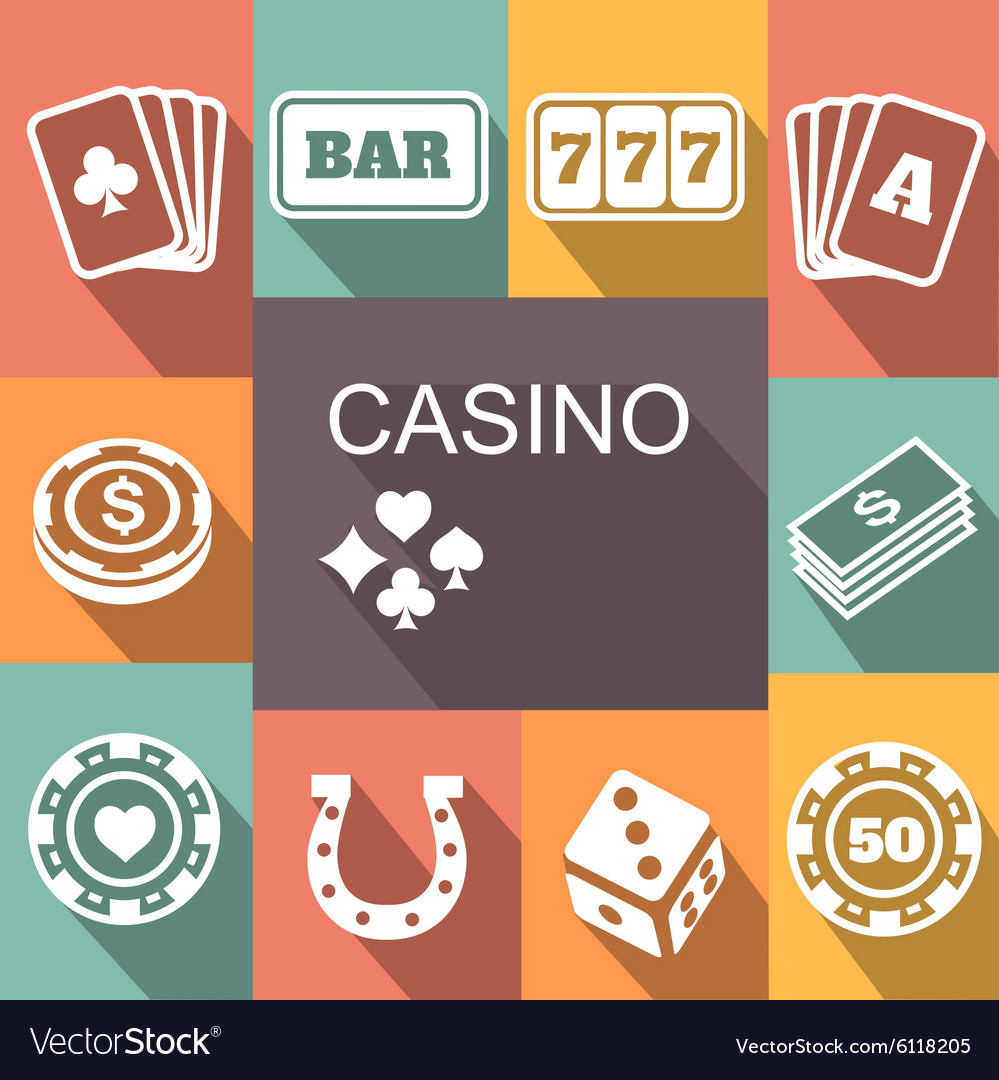 Gambling related icons Poster Card and