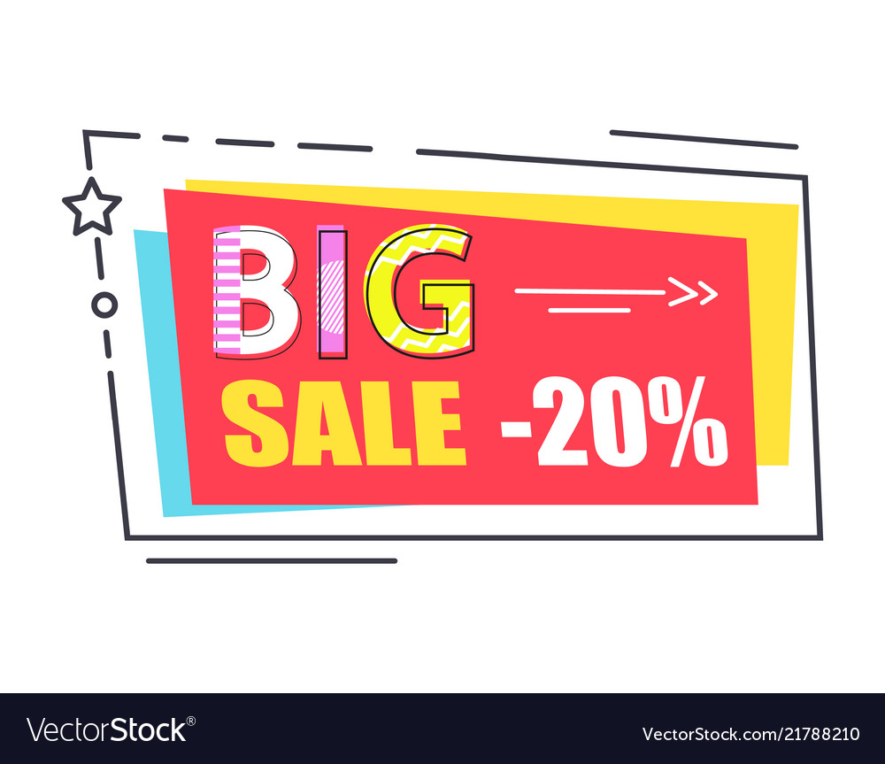 Big sale promo label rectangle decorated by star