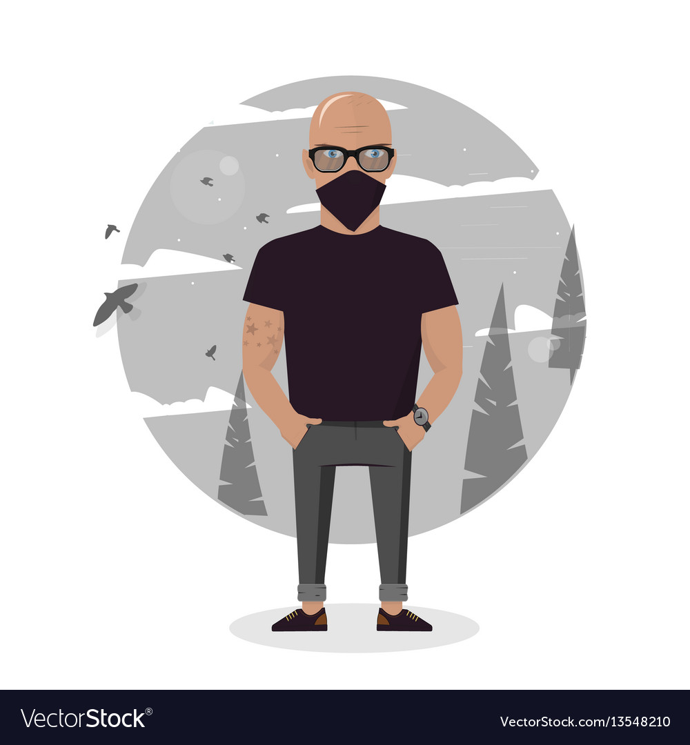 Cartoon thief in black mask bad man vector image