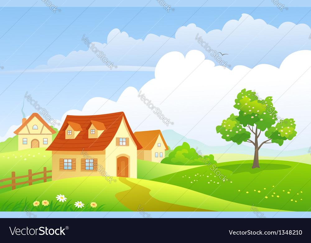 Cartoon village vector image