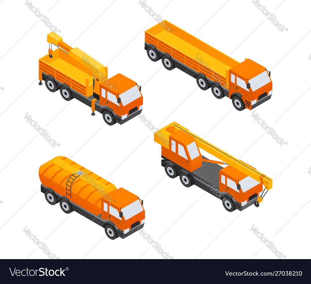 Construction vehicles - modern isometric