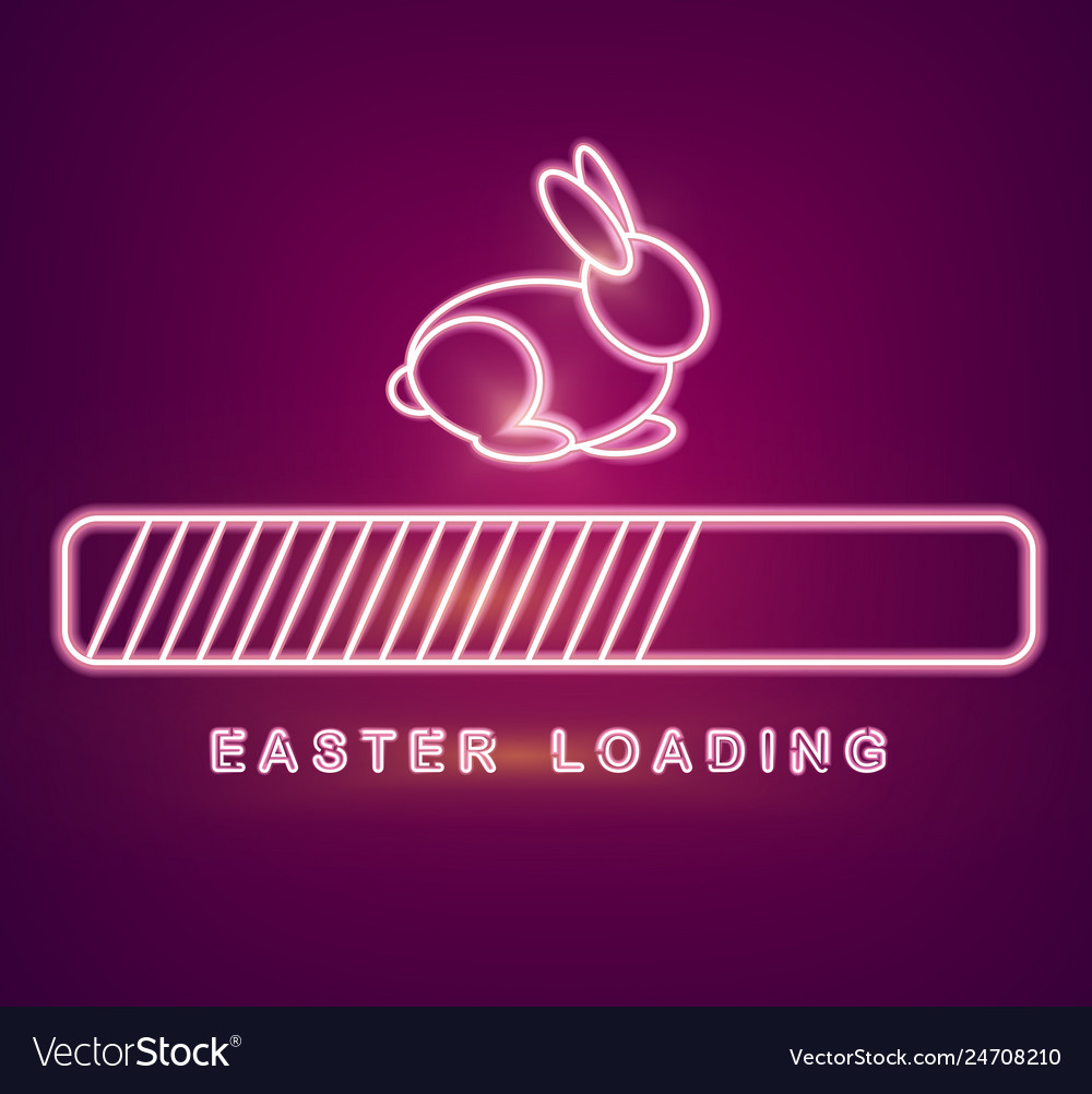 Easter card with neon rabbit loading symbol
