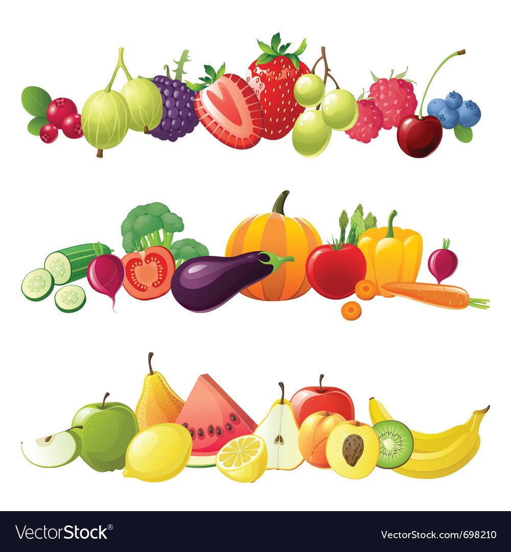 fruits vegetables and berries borders royalty free vector Basket of Fruits and Vegetables Fruit and Vegetable Border