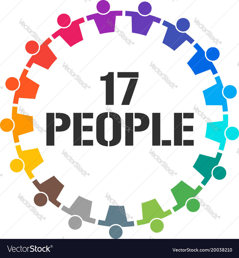 Group of 17 people together stand vector image