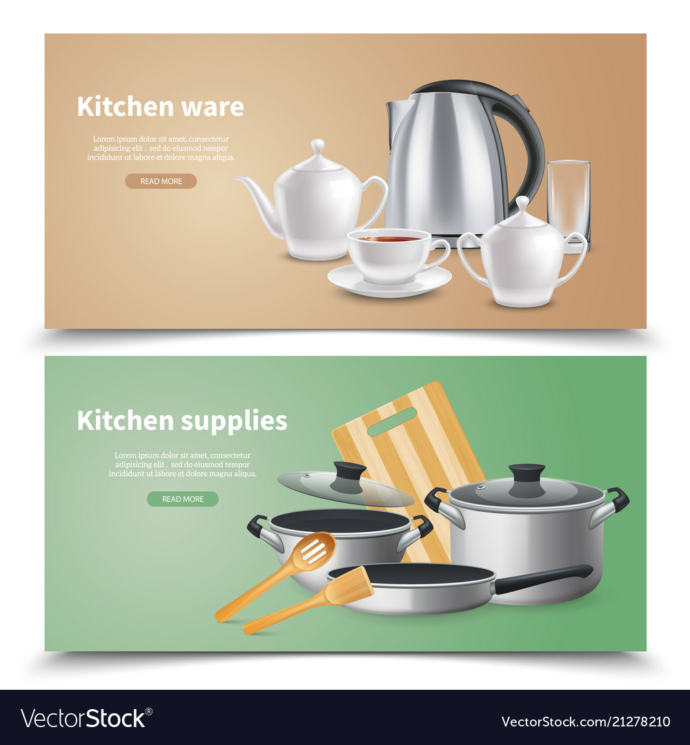 Realistic Kitchen Supplies Banners
