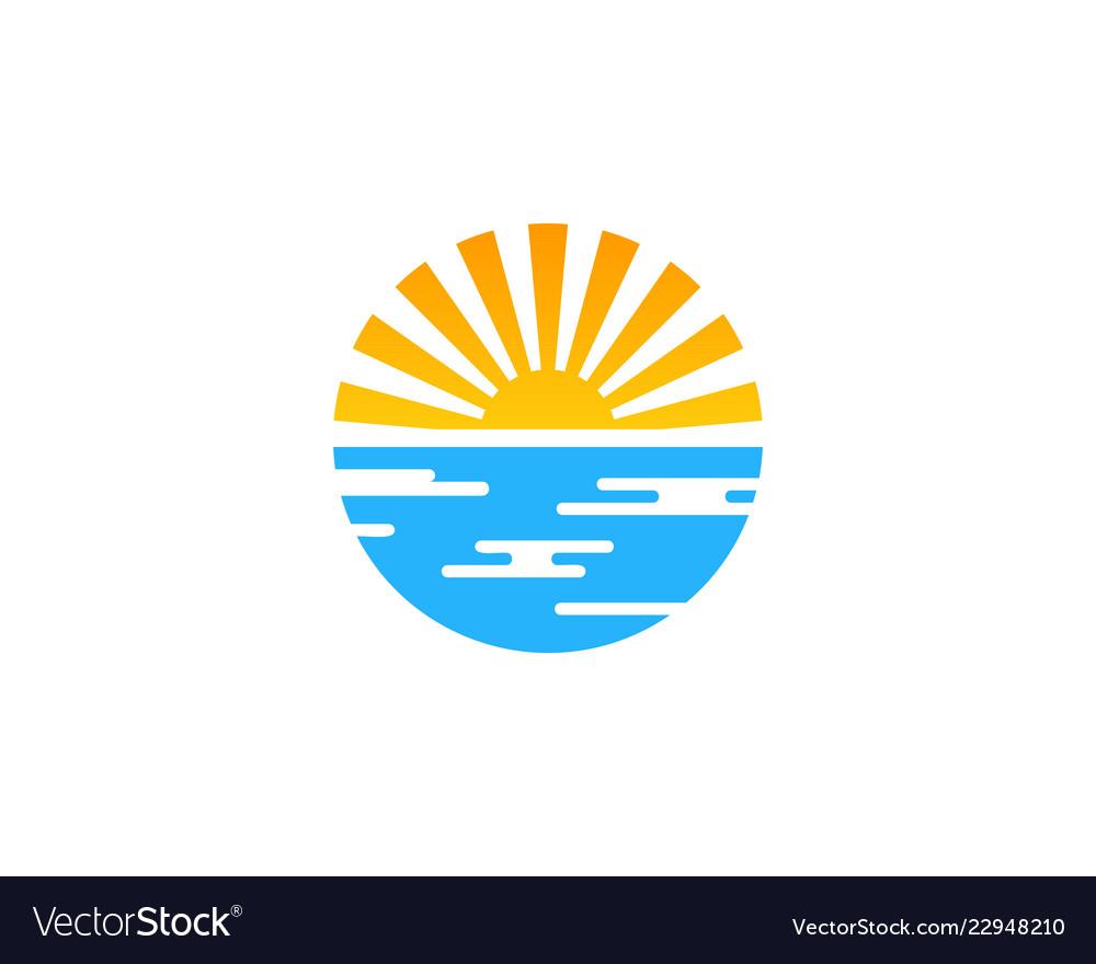 Sunset travel logo icon design