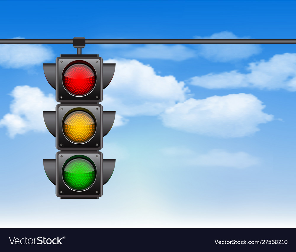 Traffic lights with all three colors on hanging