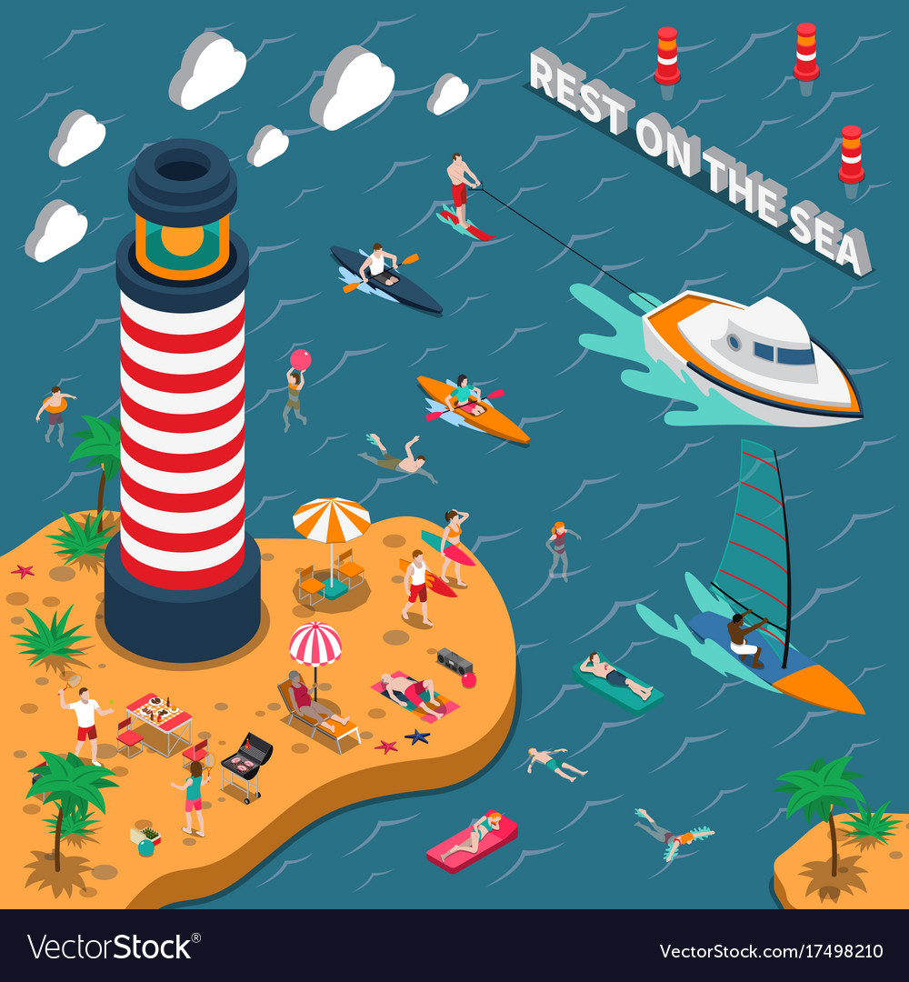 Water sports isometric people poster
