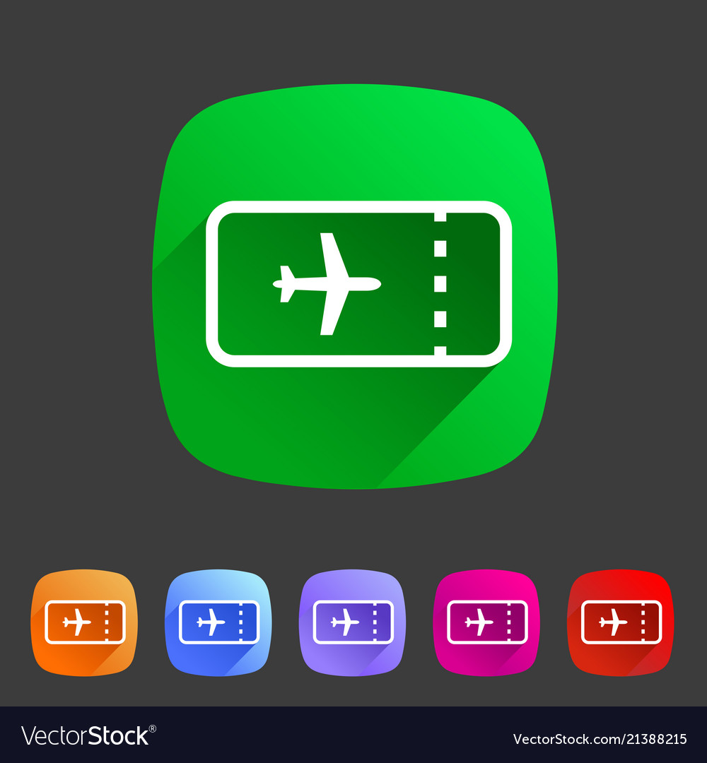 Aircraft airplane ticket trip travel icon flat web
