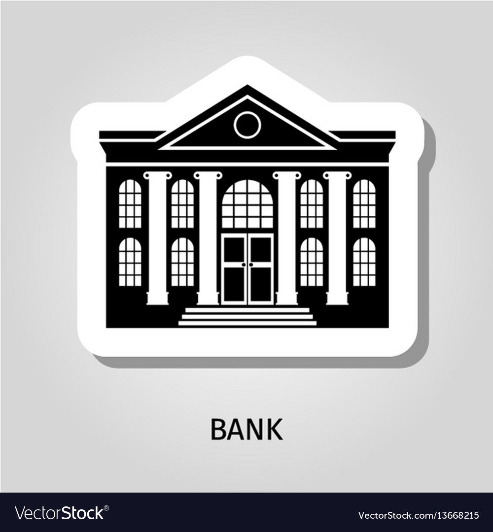 Bank building web sticker icon