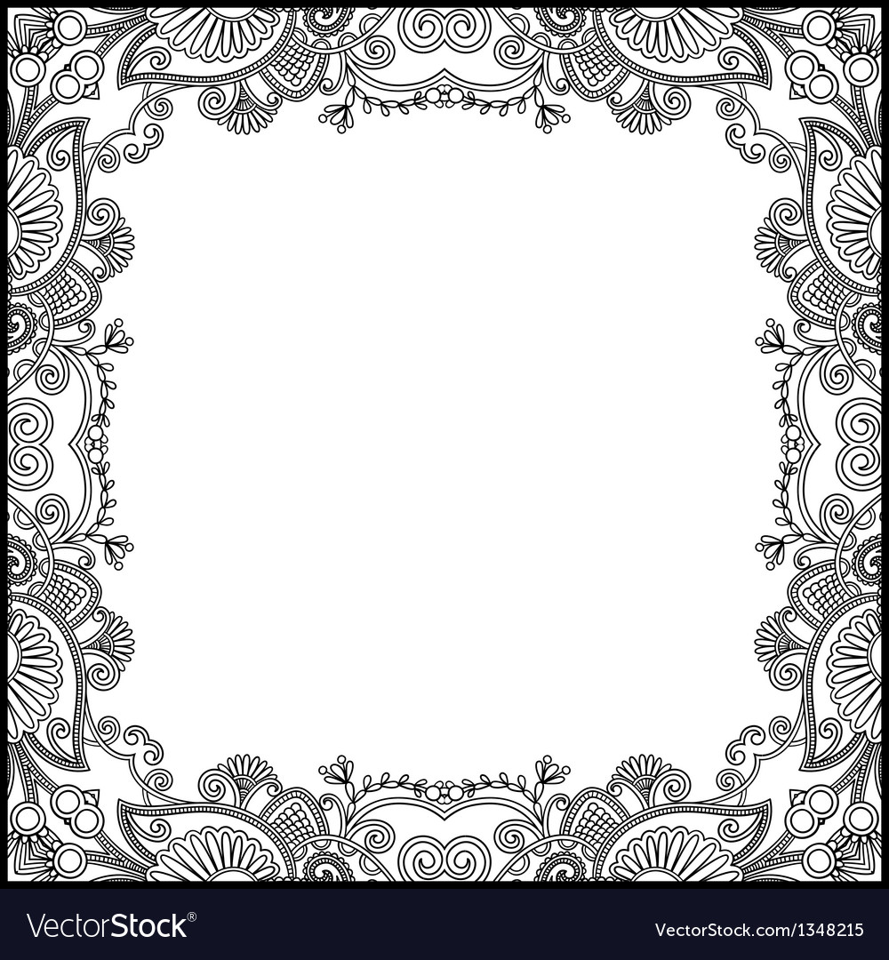 vintage black frame. Black And White Floral Vintage Frame Vector Image Black I