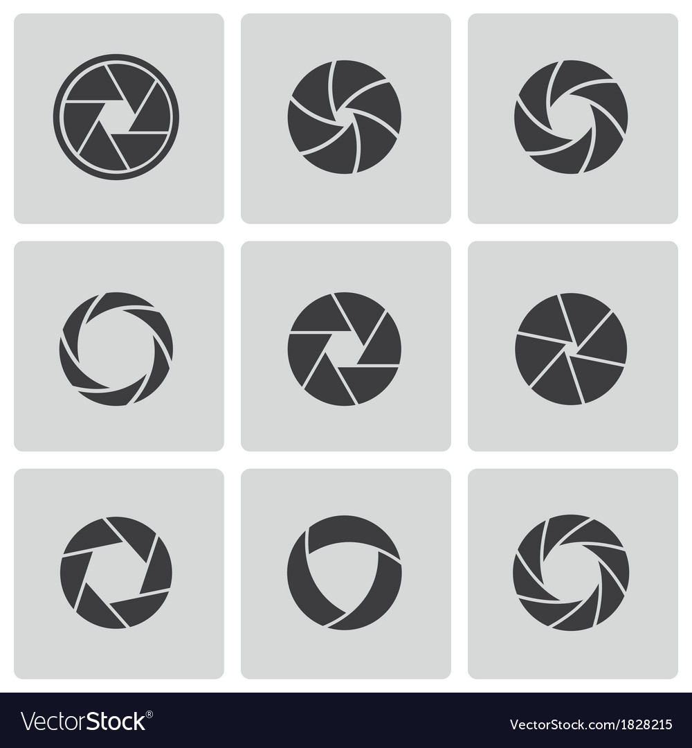 Black camera shutter icons set