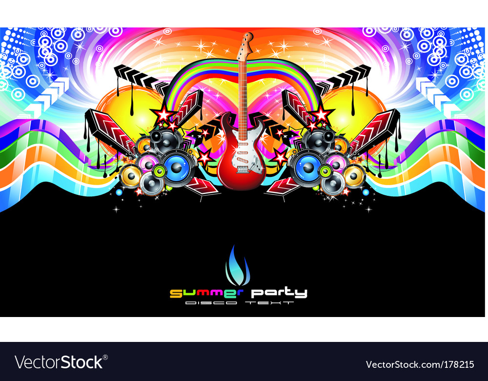 Colorful discotheque Dj event flyer vector image