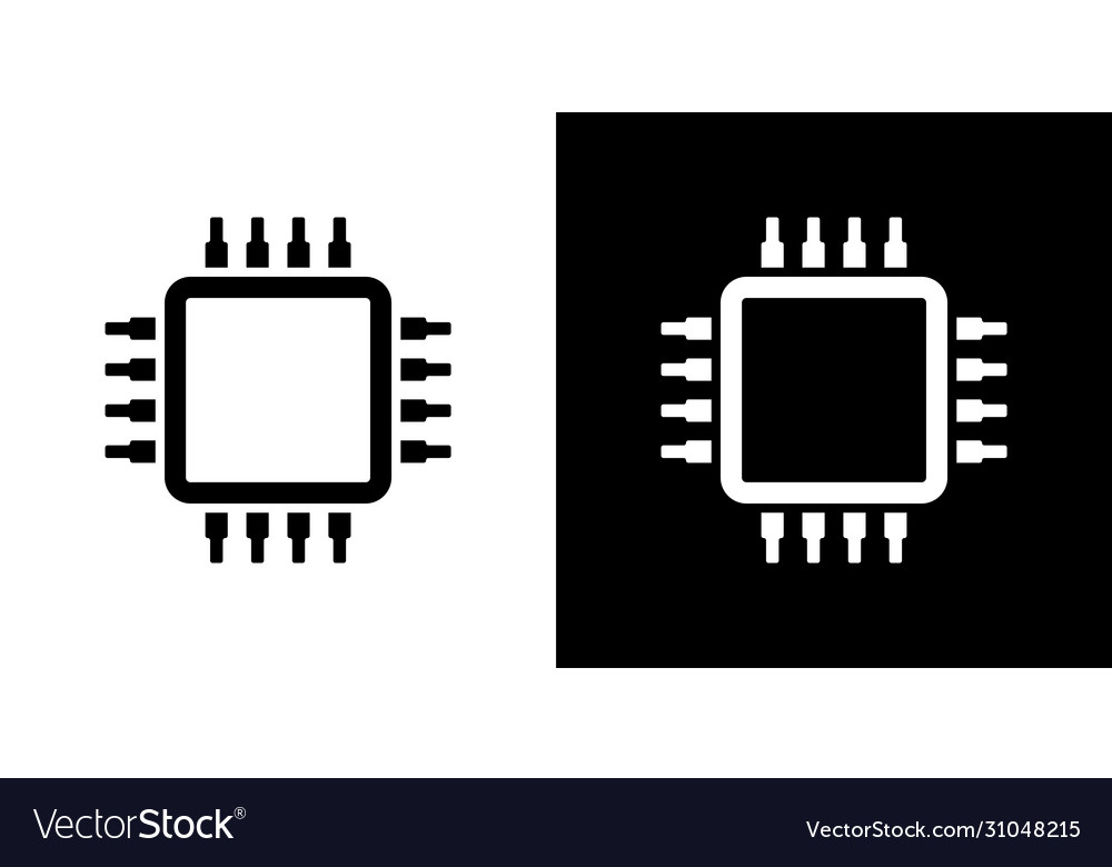 cpu icon isolated computer digital technology vector image cpu icon isolated computer digital technology vector image