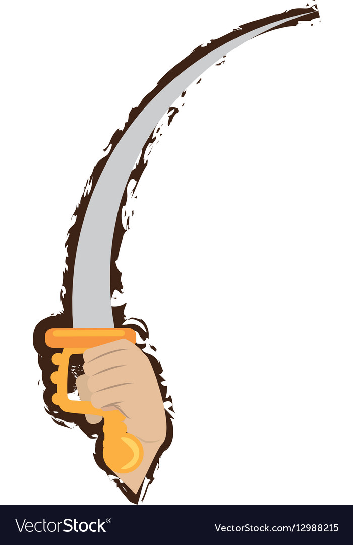Hand holding pirate saber steel cutlass doodle vector image