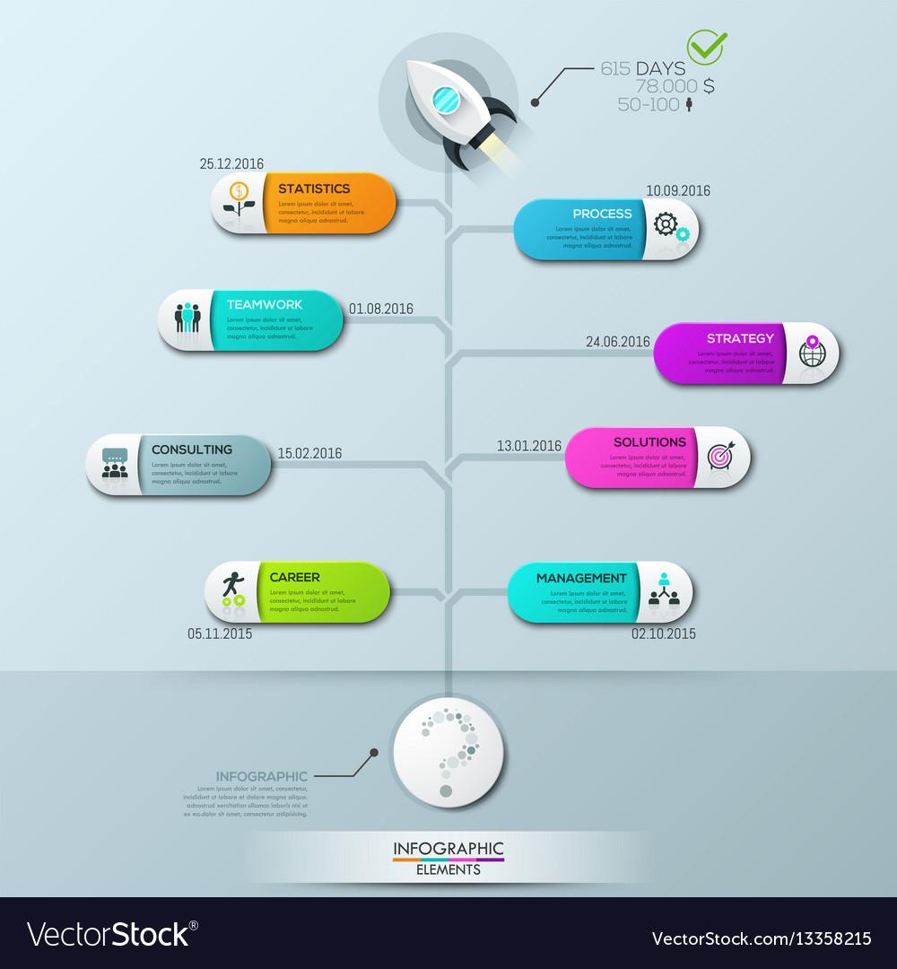 Infographic design template vertical tree diagram vector image
