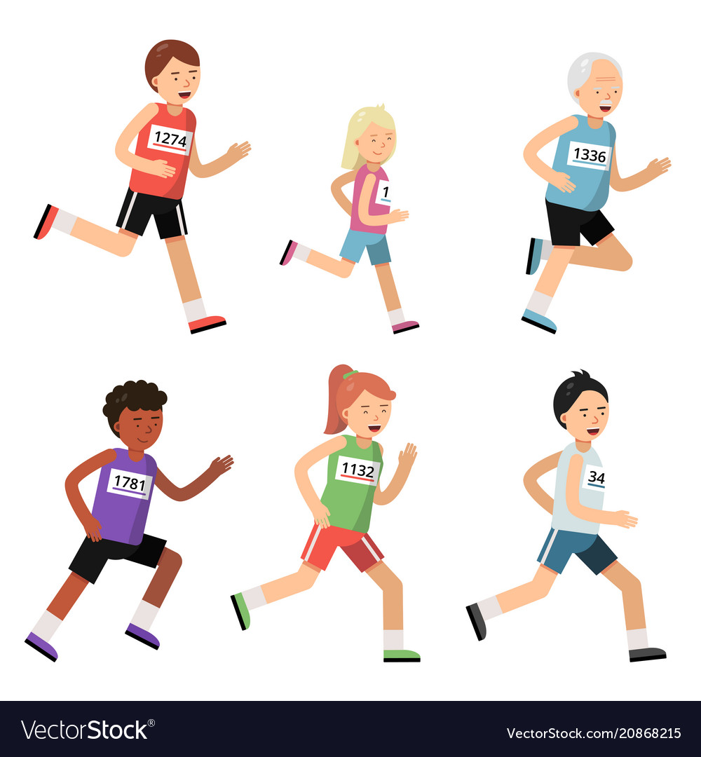 Jogging marathon sport people different ages