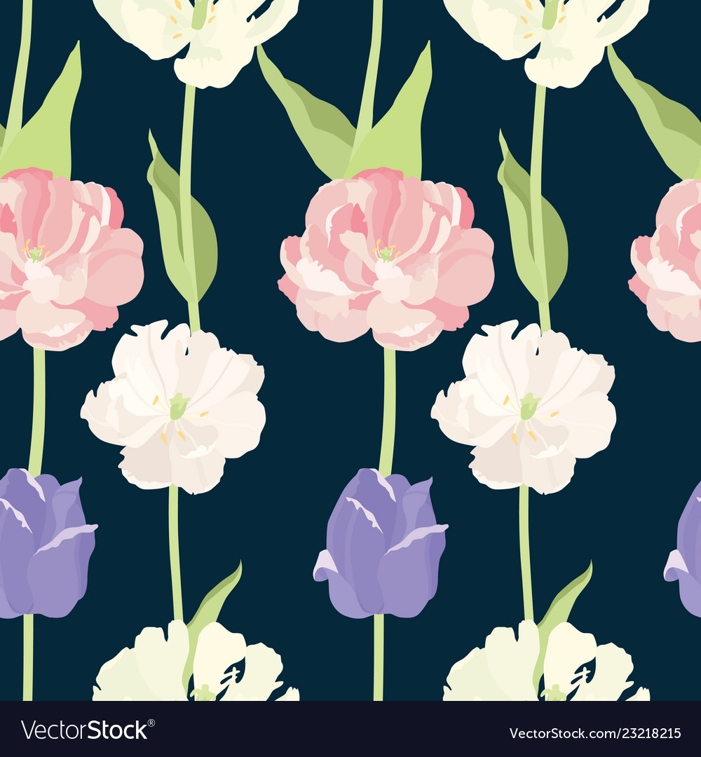 Pink and lilac tulips seamless pattern