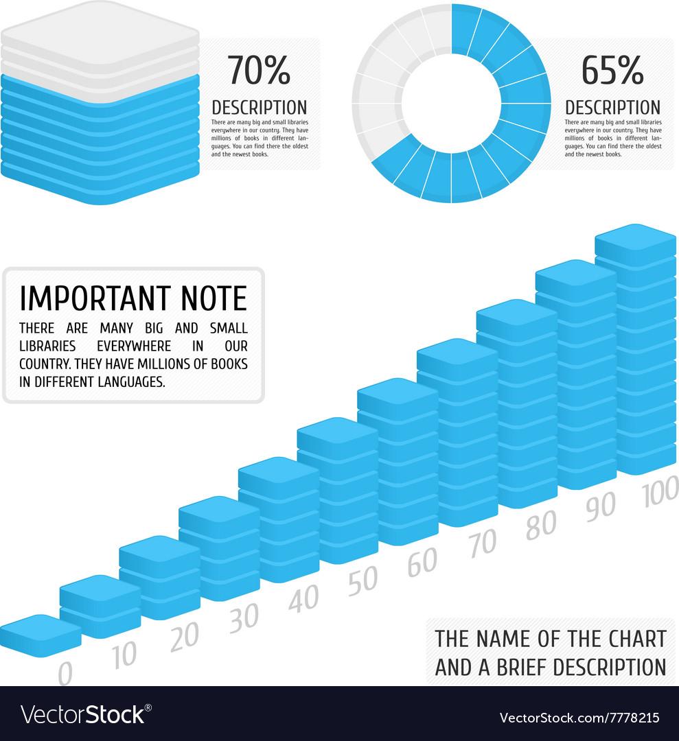 Set of blue charts