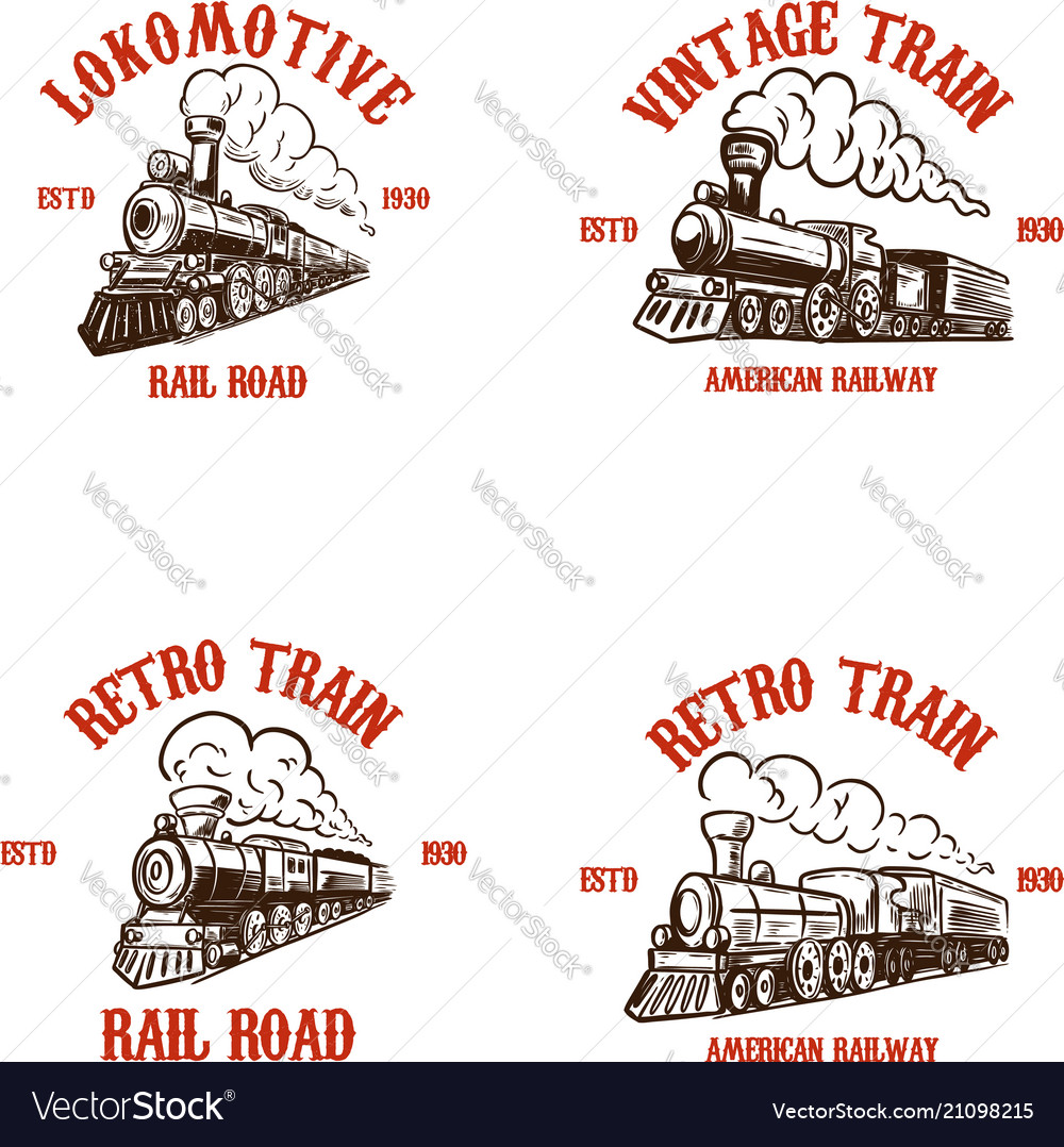 Set of emblem templates with hand drawn retro