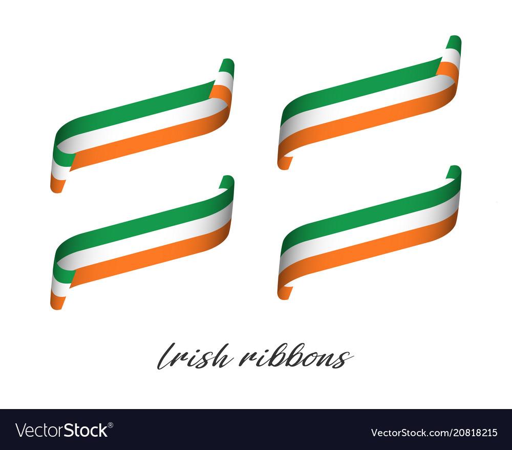 Set of four modern colored irish ribbons