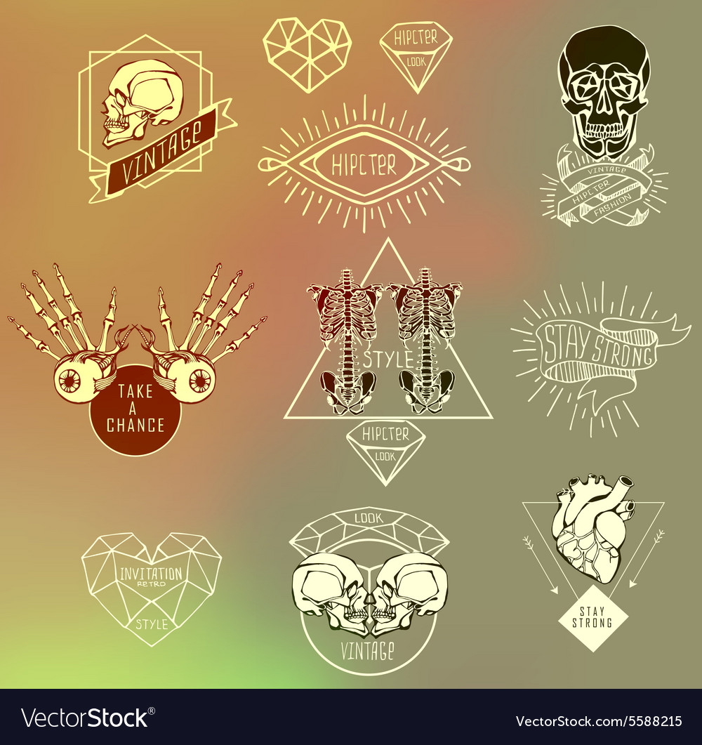 Set of Labels with hand draw human vector image