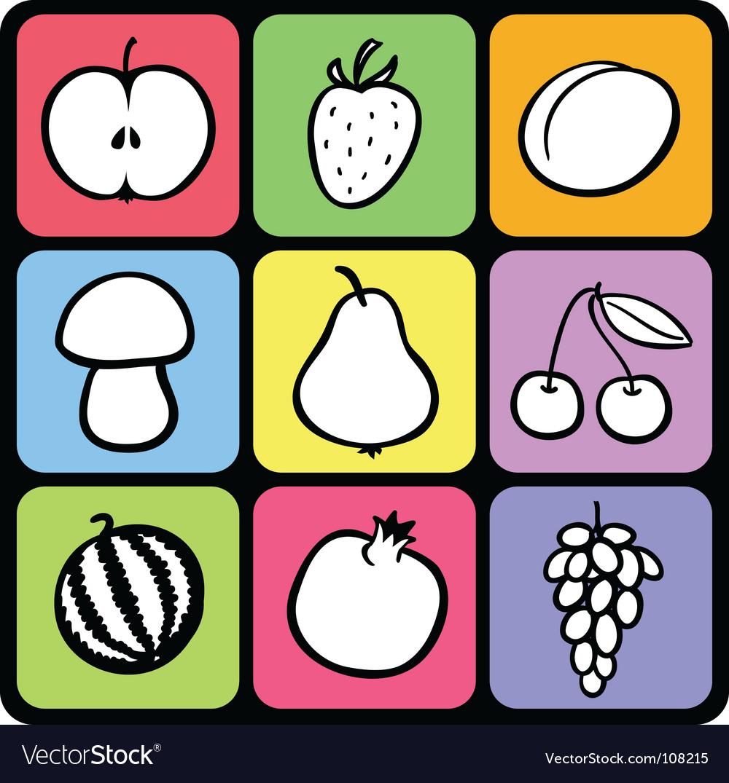 Set of stylised fruit vector image