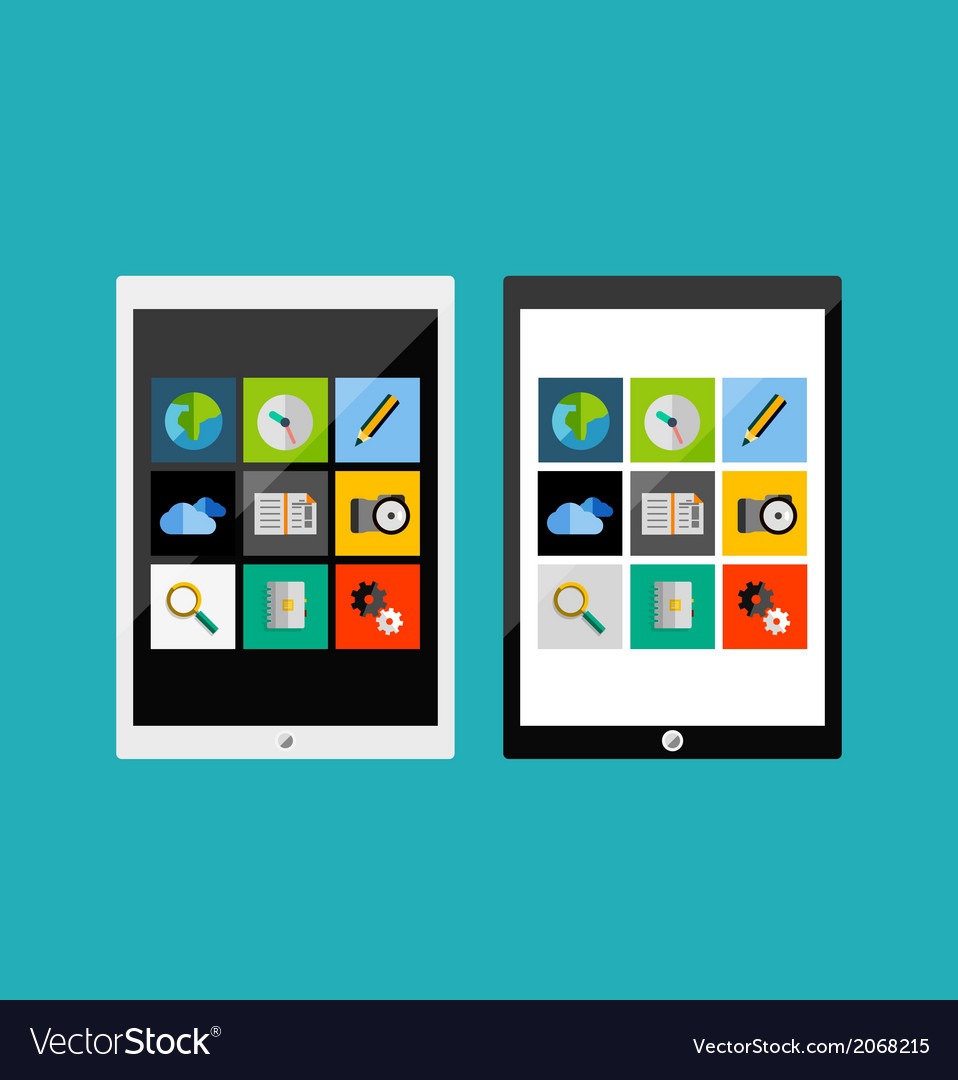 Tablet apps responsive flat ui design