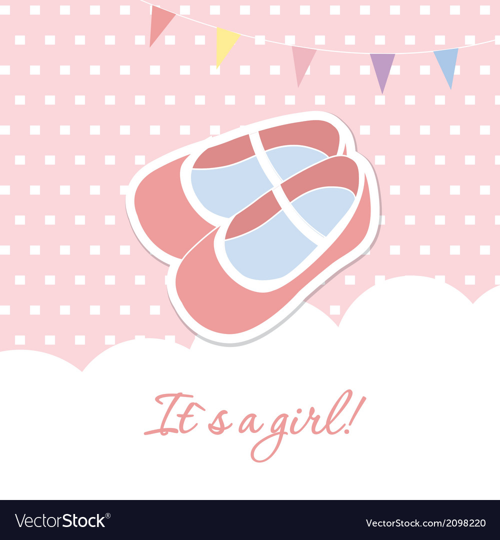 Baby girl shower card with small boots on seamless