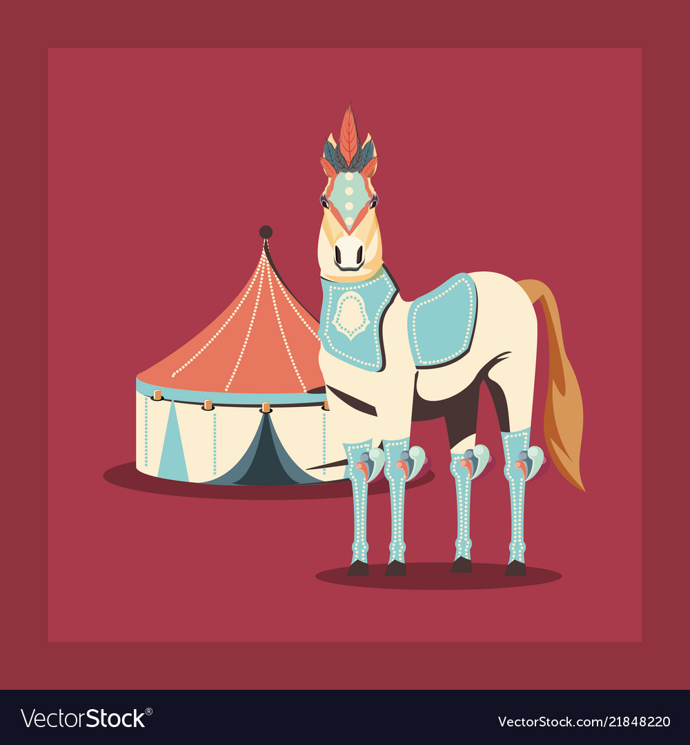 Carnival circus horse and tent retro