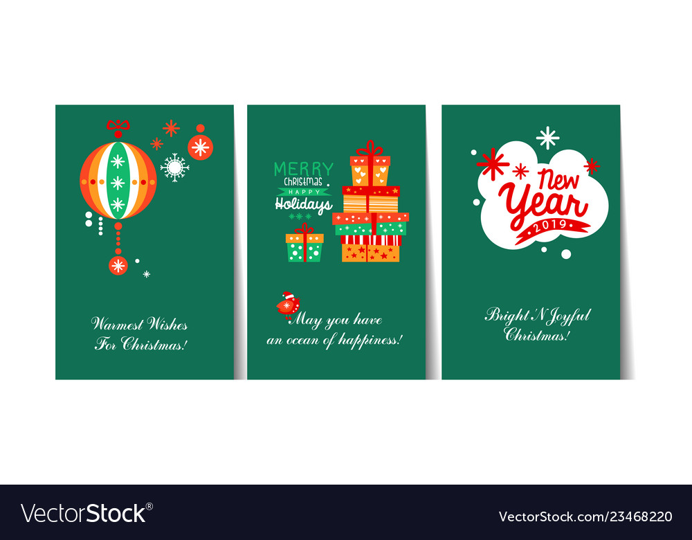 Christmas and happy new year gift cards