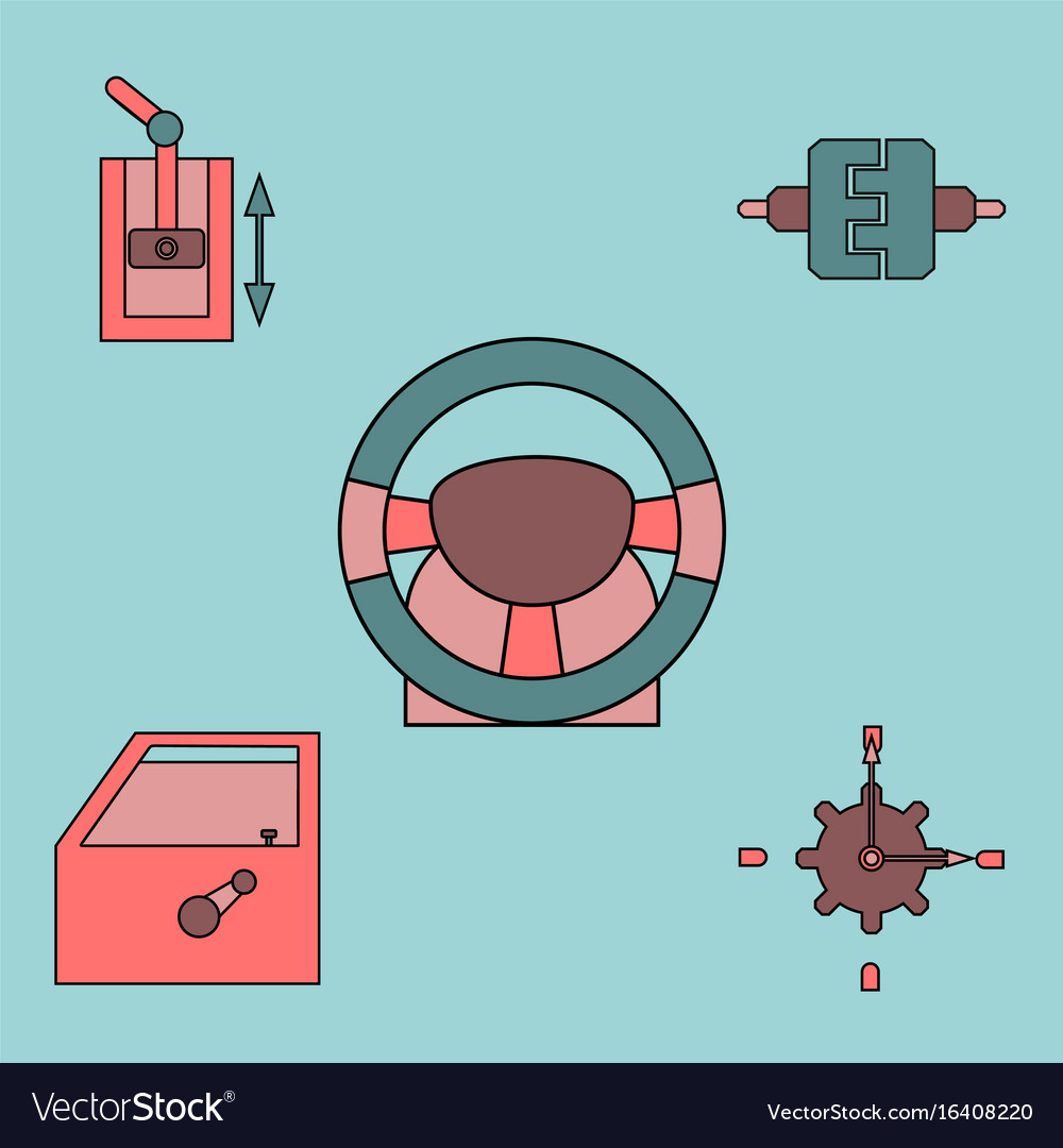 Collection Of Icons And Car Parts Royalty Free Vector Image