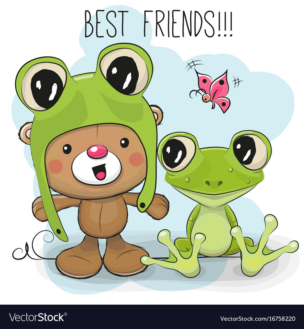 Cute bear and frog