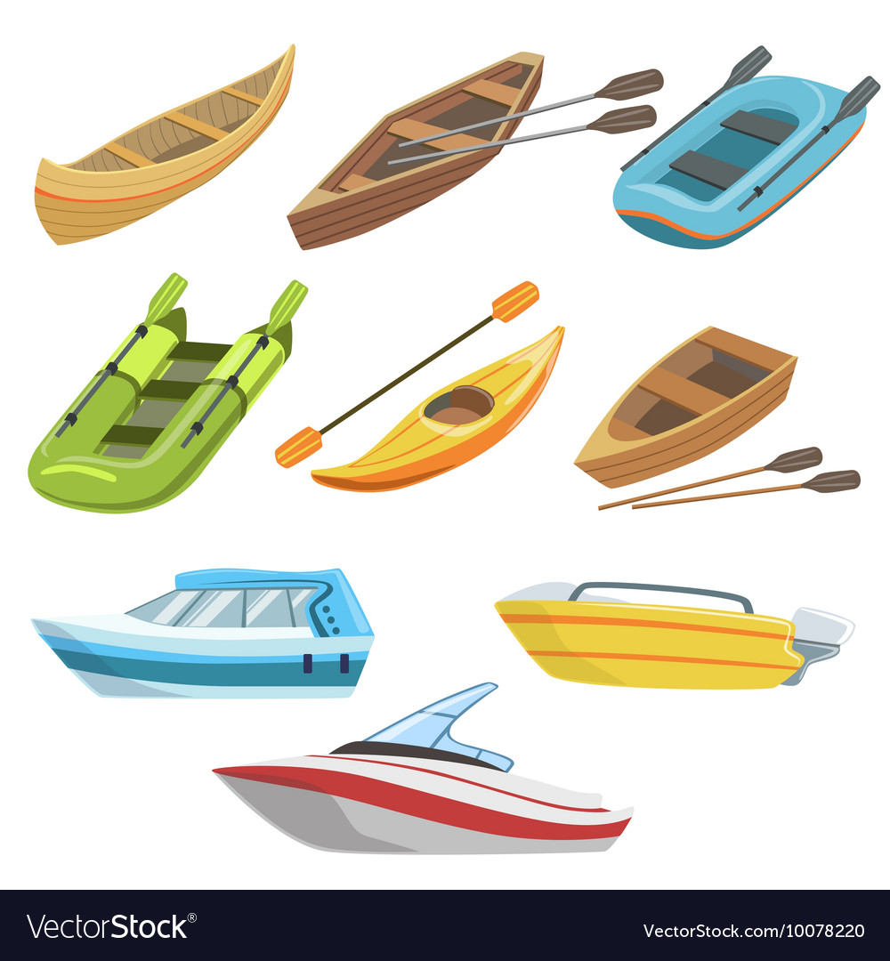 different types of boats colorful set royalty free vector