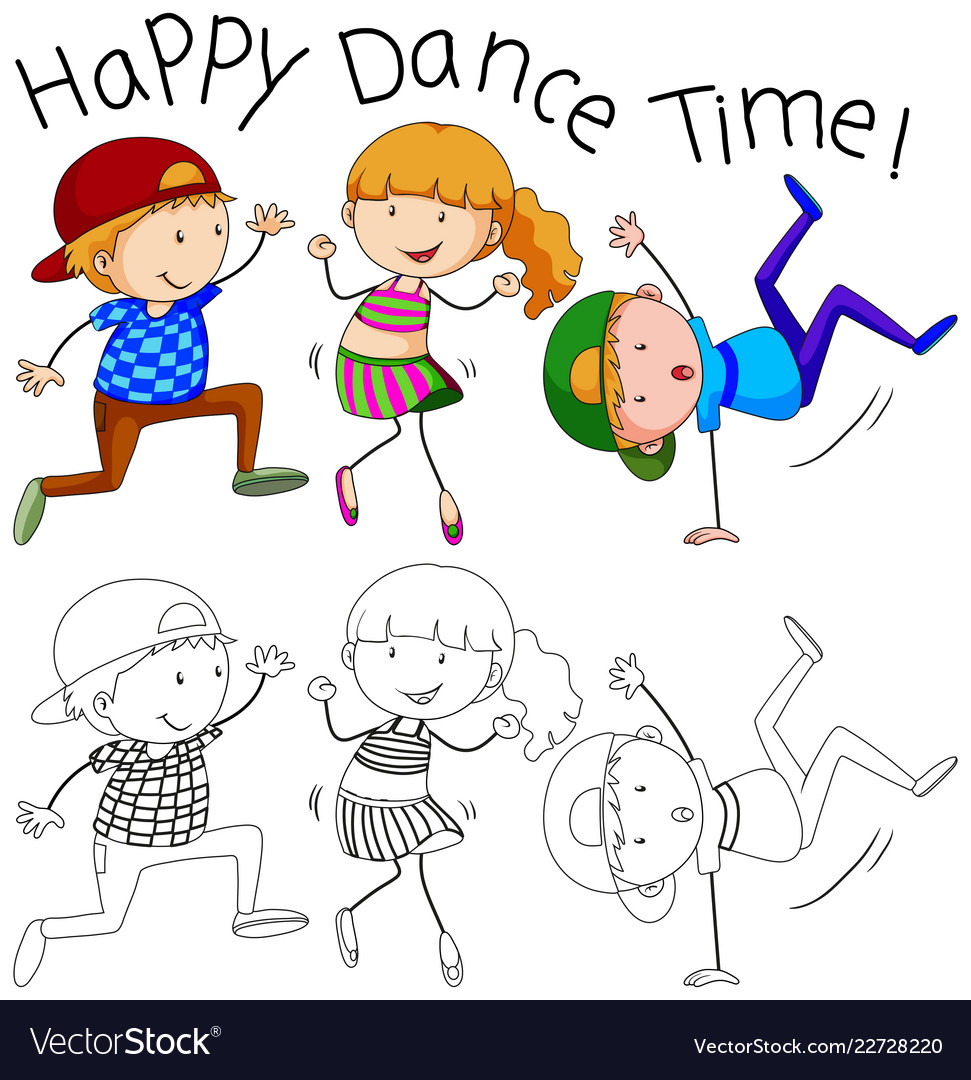 Doodle Happy Dancer Character Royalty Free Vector Image