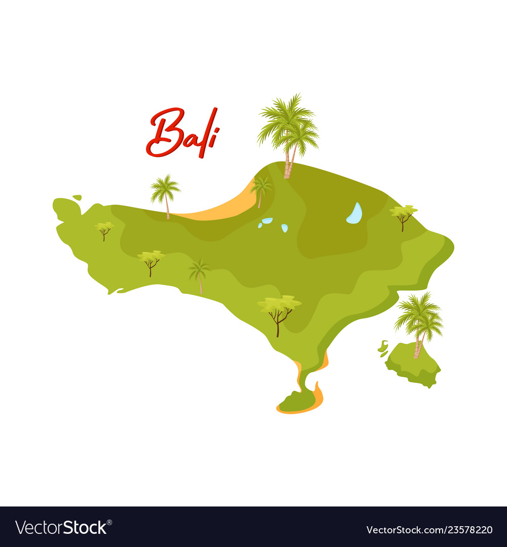 Flat Design Of Bali Map Green Island With Vector Image