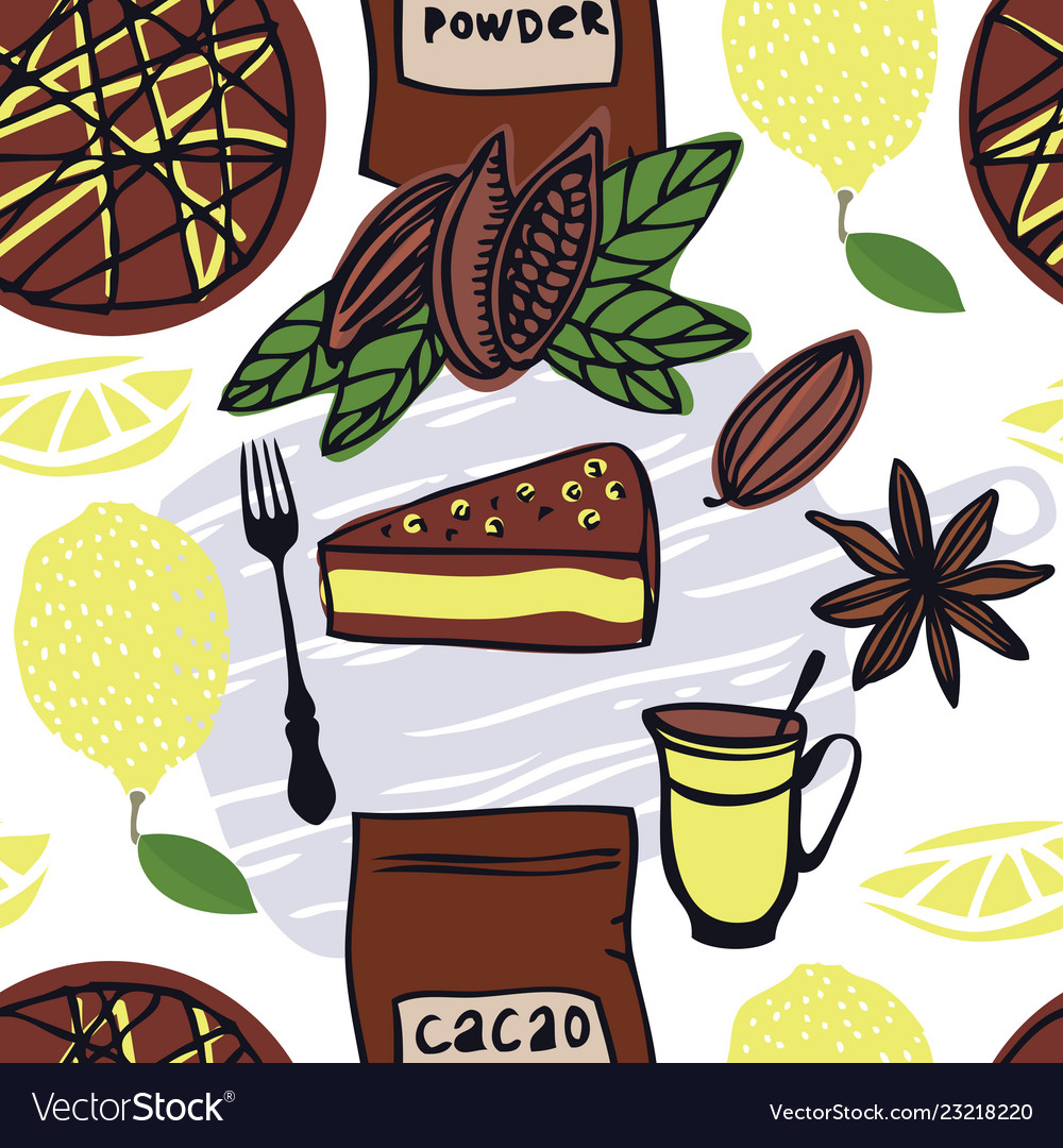 Food cacao cake with lemon seamless pattern