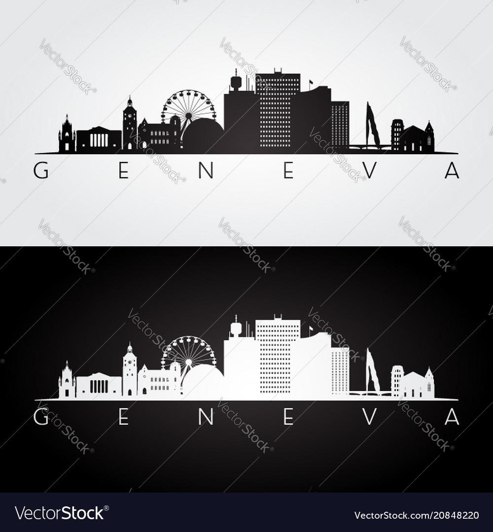 Geneva skyline and landmarks silhouette
