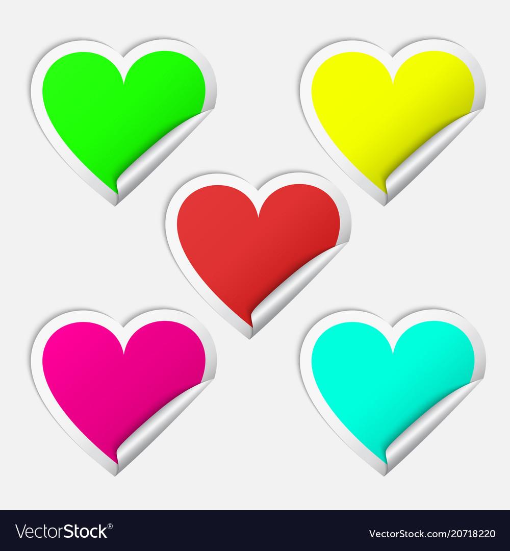 Heart realistic sticker set