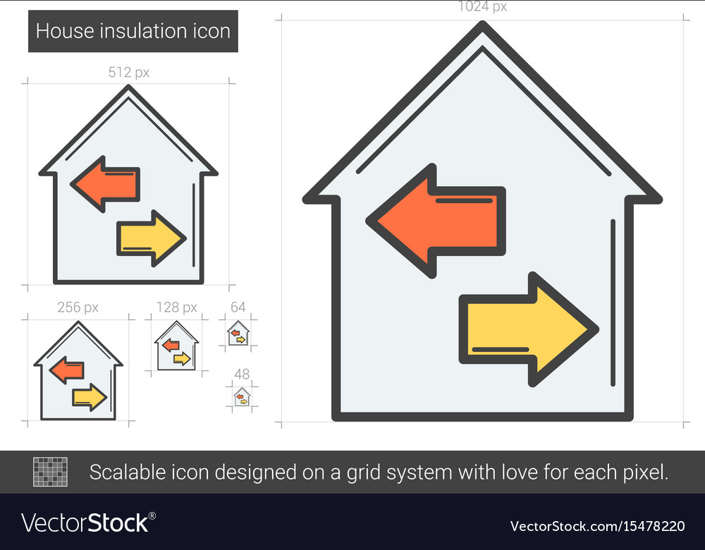House insulation line icon vector image