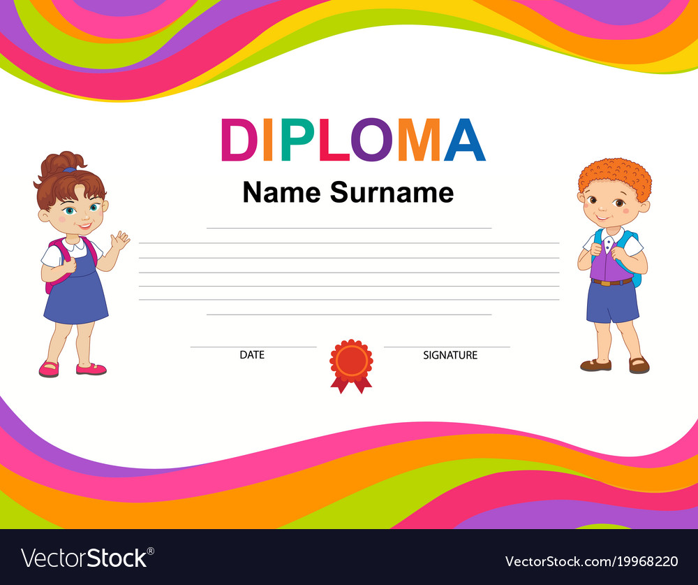 kids diploma certificate background design vector image
