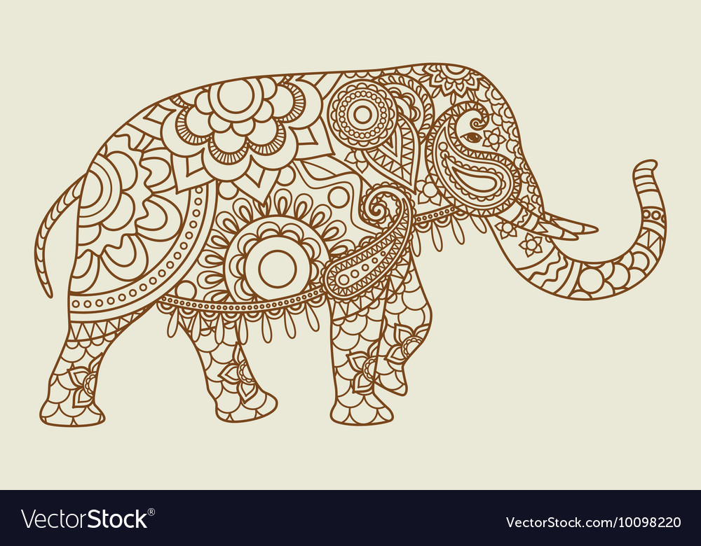 Mehendi indian elephant icon vintage colors vector