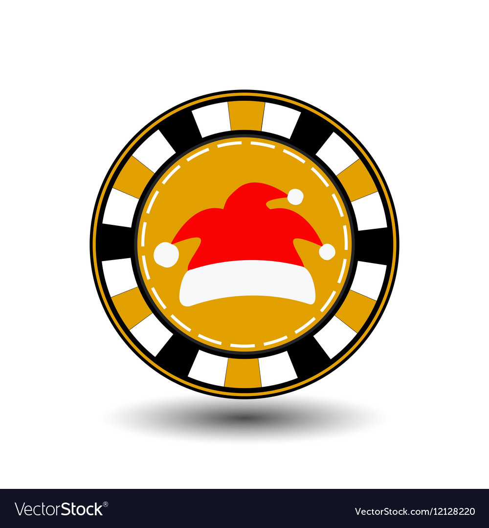 Poker chip Christmas new year Cap Santa Claus red