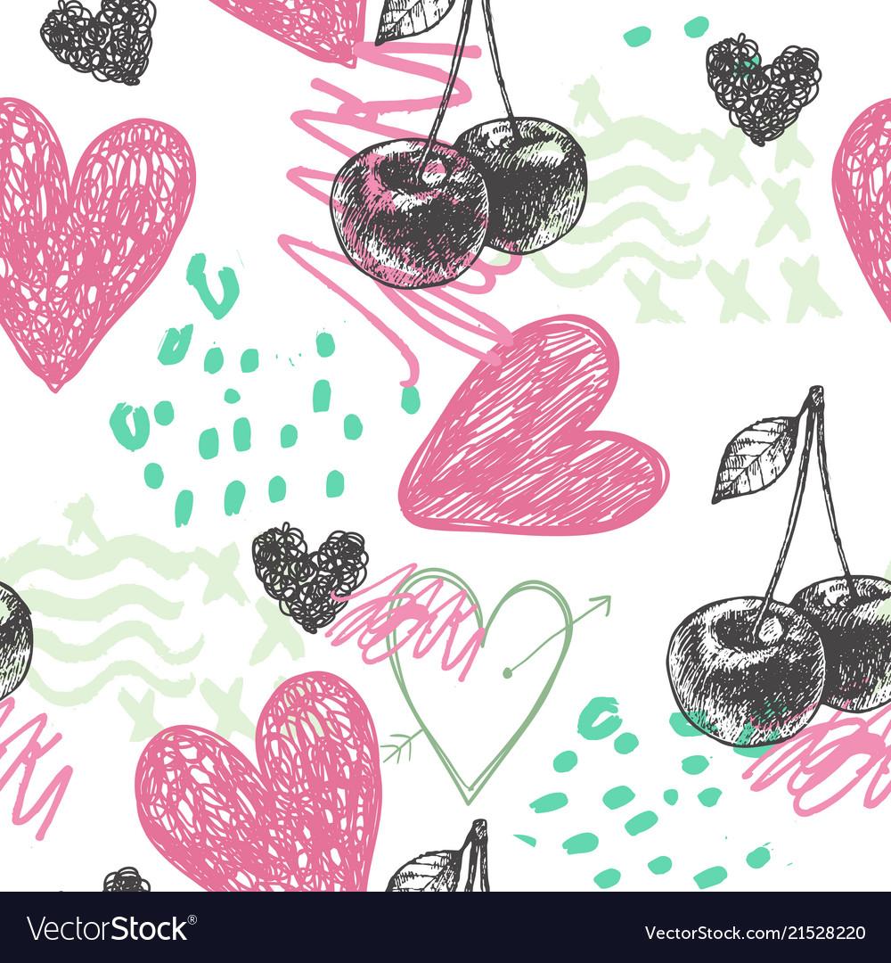 Seamless artistic hand drawn pattern