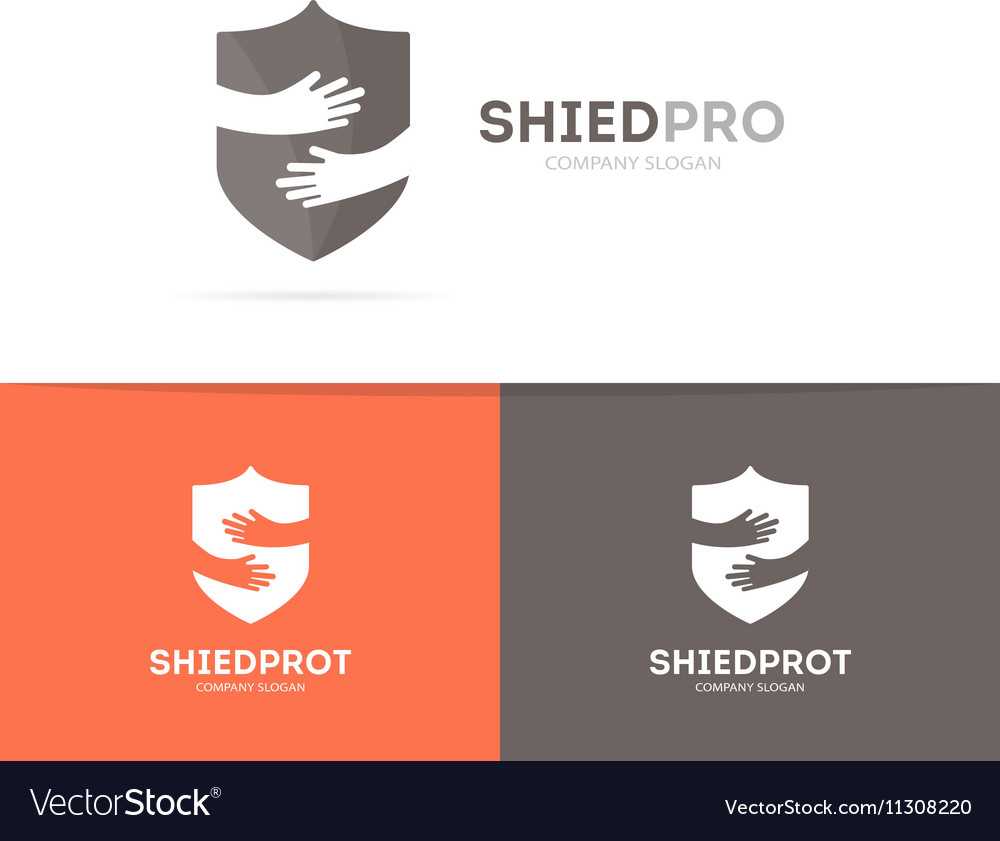 Shield and hands logo combination Security
