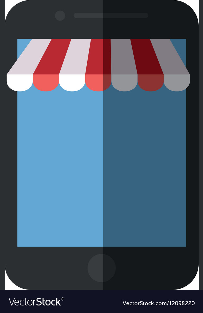 Smartphone shopping online store color shadow vector image