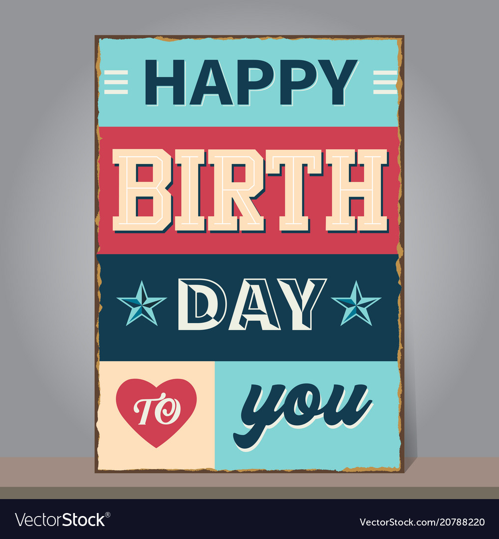 Vintage happy birthday greeting or invitation card