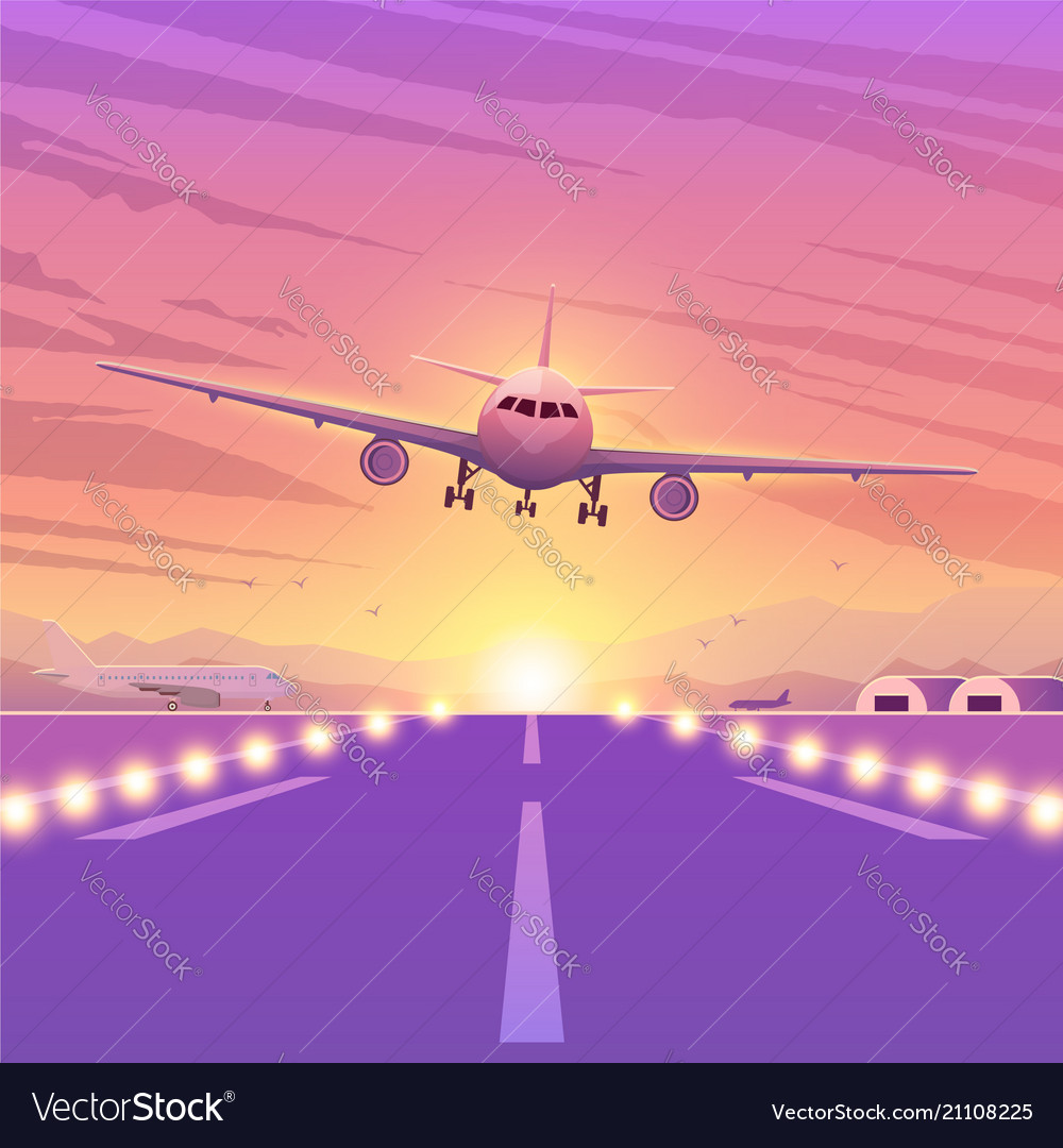 Airplane on pink background with sunset a flying
